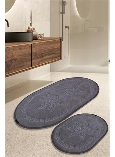 ikinciten Banyo Klozet Paspası Halısı 2'Li Takım Kaymaz Yıkanabilir Gri 100X60-60X50 Gri